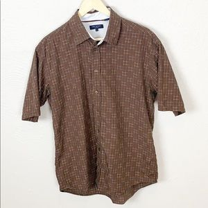 Ted Baker Brown Blue Short Sleeved Button Down